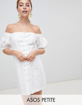 photo Lace up Broderie Off Shoulder Mini Sundress by ASOS DESIGN Petite, color White - Image 1