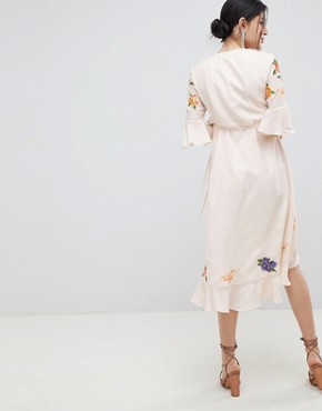 photo Maternity Embroidered Wrap Midi Dress by ASOS DESIGN, color Multi - Image 2