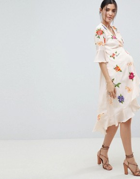 photo Maternity Embroidered Wrap Midi Dress by ASOS DESIGN, color Multi - Image 1