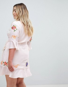 photo Embroidered Wrap Mini Dress by ASOS DESIGN Curve, color Multi - Image 2