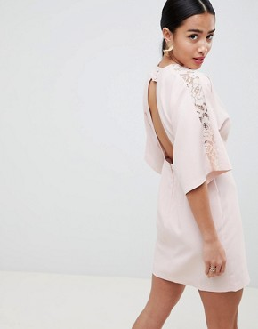 photo Lace Insert Kimono Mini Dress by ASOS DESIGN Petite, color Blush - Image 2