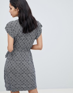photo Medina Til Print Tie Waist Dress by French Connection, color Utility Blue/Sun White - Image 2