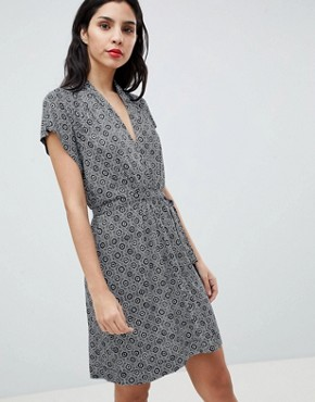 photo Medina Til Print Tie Waist Dress by French Connection, color Utility Blue/Sun White - Image 1