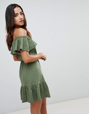 photo Off Shoulder Sundress with Tiered Skirt by ASOS DESIGN, color Khaki - Image 2