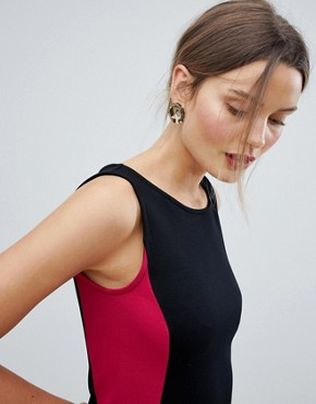 photo Lula Ponte Pencil Dress by French Connection, color Black/Summer Rouge - Image 3