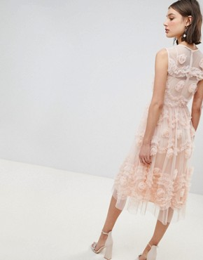 photo Tulle Midi Dress with 3D Shirring Detail by Lace & Beads, color Nude - Image 2
