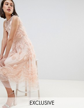 photo Tulle Midi Dress with 3D Shirring Detail by Lace & Beads, color Nude - Image 1