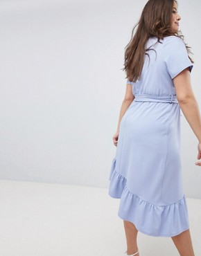 photo Midi Dress with Belt and Frill Detail by ASOS DESIGN Curve, color Blue - Image 2