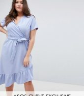 photo Midi Dress with Belt and Frill Detail by ASOS DESIGN Curve, color Blue - Image 1