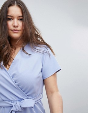 photo Midi Dress with Belt and Frill Detail by ASOS DESIGN Curve, color Blue - Image 3