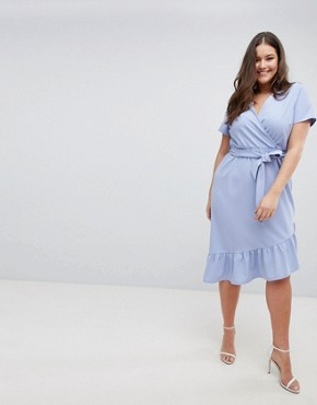 photo Midi Dress with Belt and Frill Detail by ASOS DESIGN Curve, color Blue - Image 4