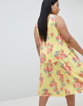photo Slinky Floral Cape Midi Dress by ASOS DESIGN Curve, color Multi - Image 2