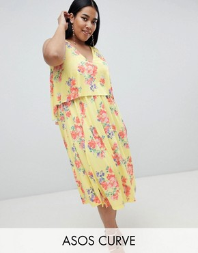 photo Slinky Floral Cape Midi Dress by ASOS DESIGN Curve, color Multi - Image 1