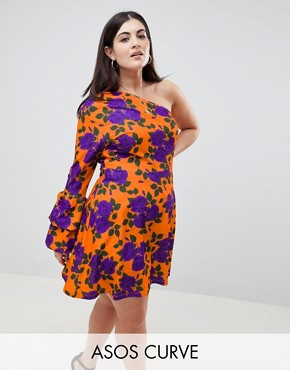photo One Shoulder Mini Skater Dress with Double Bubble Sleeve by ASOS DESIGN Curve, color Multi - Image 1