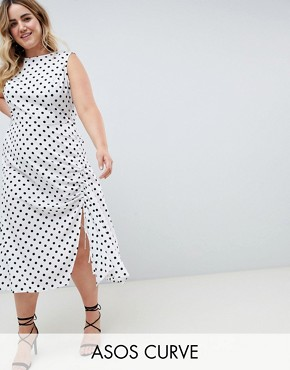 photo Sleeveless Maxi Dress in Polka Dot by ASOS DESIGN Curve, color Multi - Image 1