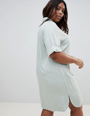 photo Short Sleeve Shirt Dress with Drape Pockets by ASOS DESIGN Curve, color Blue - Image 2