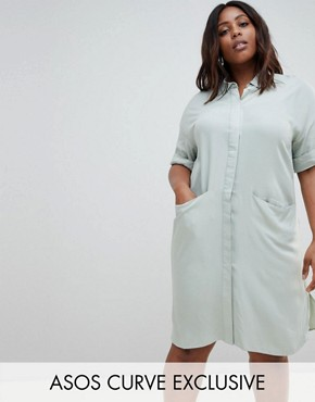 photo Short Sleeve Shirt Dress with Drape Pockets by ASOS DESIGN Curve, color Blue - Image 1