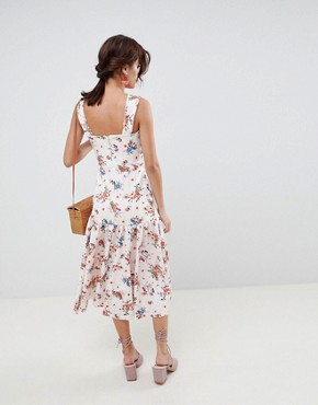 photo Drop Waist Floral Prom Midi Dress by ASOS DESIGN, color Multi - Image 2