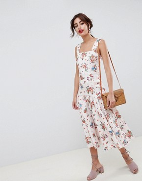 photo Drop Waist Floral Prom Midi Dress by ASOS DESIGN, color Multi - Image 1