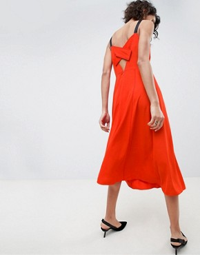 photo Strap Midi Dress by ASOS WHITE, color Red - Image 2