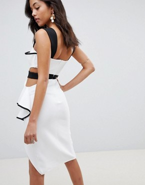 photo Ribbed Contrast Cut Out Bodycon Dress by ASOS DESIGN, color Mono - Image 2