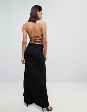 photo Halter Lace Up Maxi Dress by ASOS DESIGN, color Black - Image 2