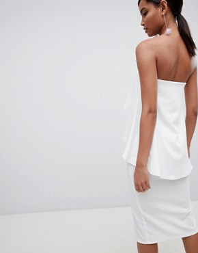 photo Bandeau Frill Cut Out Midi Dress by ASOS DESIGN, color Ivory - Image 2