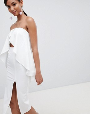 photo Bandeau Frill Cut Out Midi Dress by ASOS DESIGN, color Ivory - Image 1