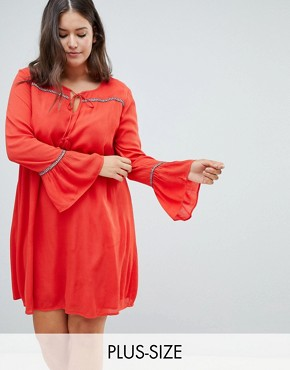 photo Smock Dress with Tassel Ties and Embroidered Insert by Glamorous Curve, color Red - Image 1