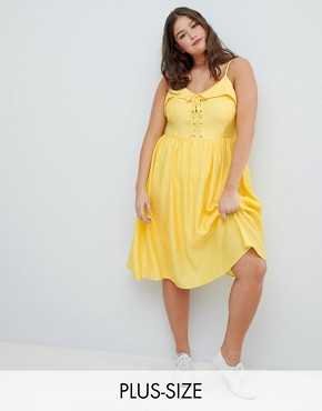 photo Midi Sundress with Lace Up Front by Glamorous Curve, color Yellow - Image 1
