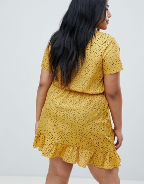 photo Mini Tea Dress with Tie Front in Ditsy Spot by Glamorous Curve, color Yellow Spot - Image 2