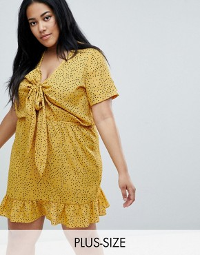 photo Mini Tea Dress with Tie Front in Ditsy Spot by Glamorous Curve, color Yellow Spot - Image 1