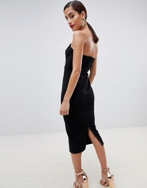 photo Wired Bodycon Midi Dress by ASOS DESIGN, color Black - Image 2