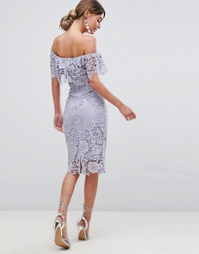 photo Ruffle Bardot Lace Midi Dress by Paper Dolls, color Oyster Grey - Image 2