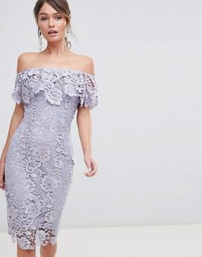 photo Ruffle Bardot Lace Midi Dress by Paper Dolls, color Oyster Grey - Image 1