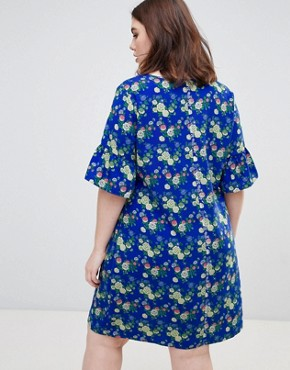 photo Fluted Sleeve Floral Dress by Junarose, color Multi - Image 2