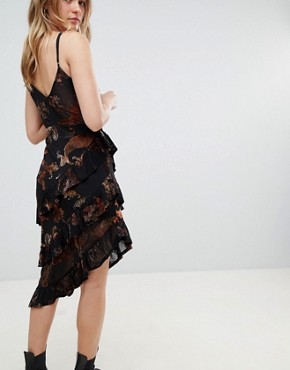 photo Layered Cami Dress in Sheer Velvet Burnout by Honey Punch, color Black - Image 2