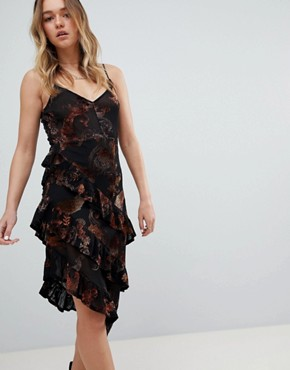 photo Layered Cami Dress in Sheer Velvet Burnout by Honey Punch, color Black - Image 1