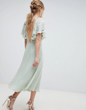 photo Embellished Wrap Midi Dress with Flutter Sleeve by ASOS DESIGN, color Pastel Green - Image 2