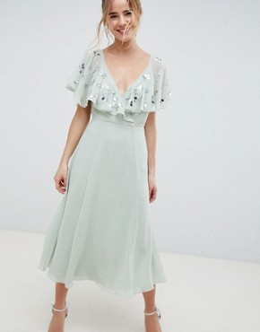 photo Embellished Wrap Midi Dress with Flutter Sleeve by ASOS DESIGN, color Pastel Green - Image 1