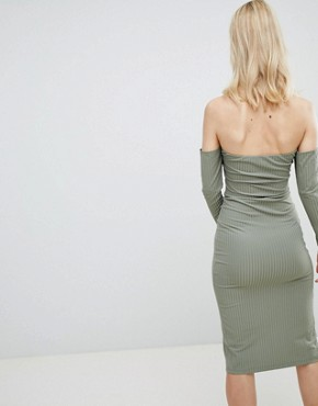 photo Bandeau Off Shoulder Bodycon Midi Dress with Popper Front in Rib by ASOS DESIGN, color Khaki - Image 2