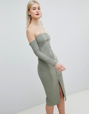 photo Bandeau Off Shoulder Bodycon Midi Dress with Popper Front in Rib by ASOS DESIGN, color Khaki - Image 1