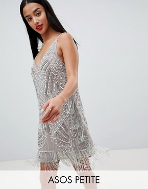photo Embellished Cami Mini Dress by ASOS EDITION Petite, color Grey - Image 1