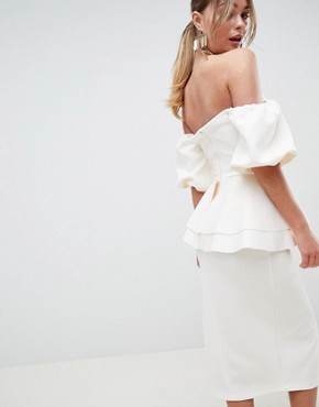 photo Extreme V-Puff Sleeve Midi Dress by ASOS DESIGN, color Cream - Image 2