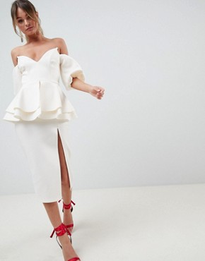 photo Extreme V-Puff Sleeve Midi Dress by ASOS DESIGN, color Cream - Image 1
