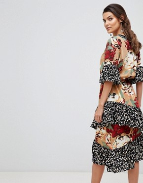photo Mix Print Tiered Ruffle Dress by Y.A.S, color Multi - Image 2