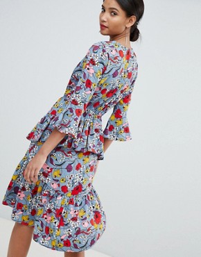 photo Bold Floral Wrap Dress with Ruffles by Y.A.S, color Multi - Image 2