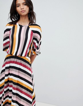 photo Stripe Midaxi Dress with Asymetric Hem by Y.A.S, color Multi - Image 1