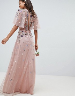 photo Bridesmaid Floral Embroidered Dobby Mesh Flutter Sleeve Maxi Dress by ASOS DESIGN Tall, color Nude - Image 2