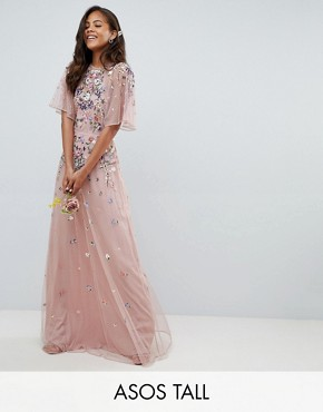 photo Bridesmaid Floral Embroidered Dobby Mesh Flutter Sleeve Maxi Dress by ASOS DESIGN Tall, color Nude - Image 1